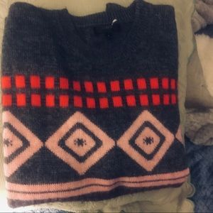 J. Crew grey multi color Aztec print sweater